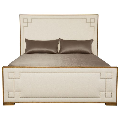 Bernhardt Soho Luxe California King Upholstered Bed with Greek Key Design