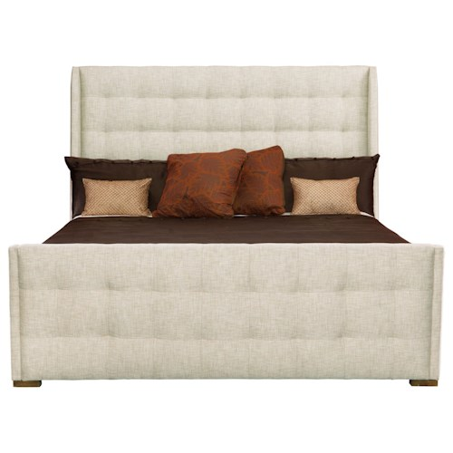 Bernhardt Soho Luxe Transitional California King Upholstered Sleigh Bed with Tufting
