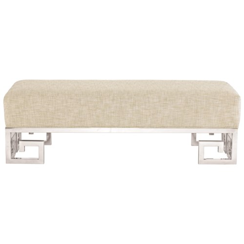 Bernhardt Soho Luxe Contemporary Customizable Bench with Greek Key Design