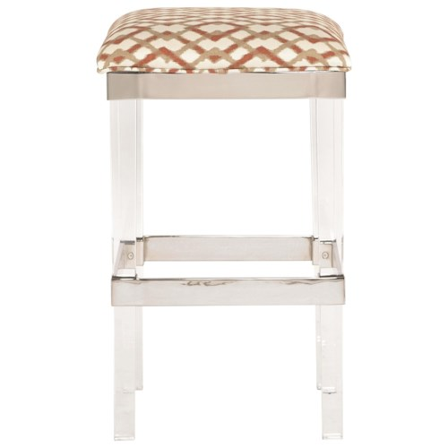 Bernhardt Soho Luxe Customizable Contemporary Bar Height Stool with Acrylic Legs