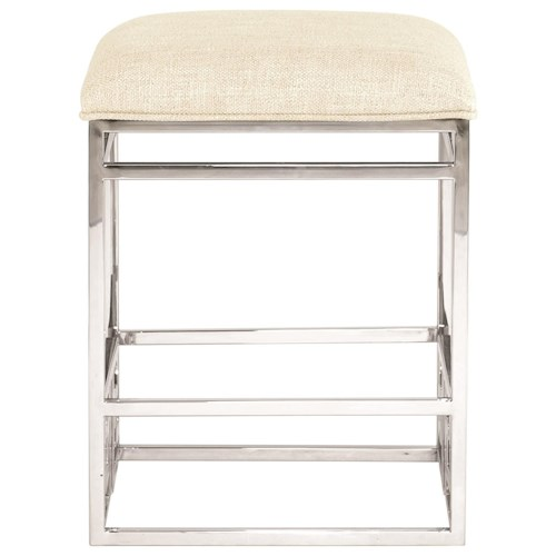 Bernhardt Soho Luxe Customizable Contemporary Counter Height Stool with Stainless Steel Base