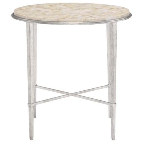 Bernhardt Solange Round Chairside Table with Stone Top