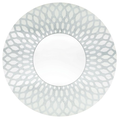 Bernhardt Sutton House Round Mirror with Silver Foil Pattern Overlay
