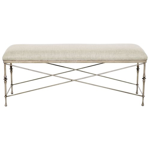 Bernhardt Sutton House Metal Bench with Upholstered Seat