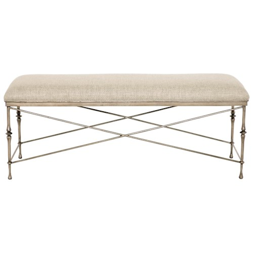 Bernhardt Sutton House Customizable Metal Bench with Upholstered Seat