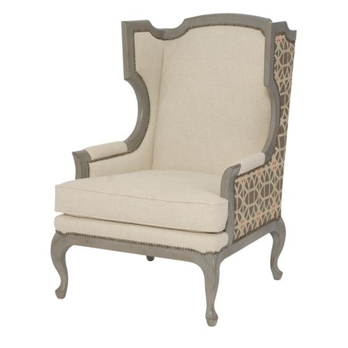 Bernhardt Talbot Transitional Upholstered Chair with Attached Pillow Back and Cabriole Feet