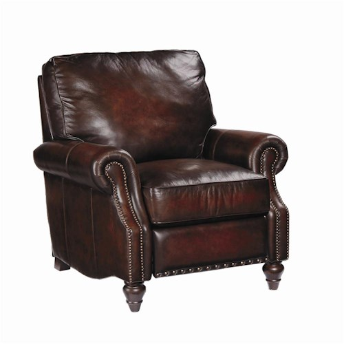 Bernhardt Upholstered Accents Leather Murphy Reclining Chair w/ Nail Head Trim
