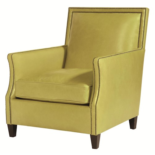 Bernhardt Upholstered Accents Transitional Scarsdale Accent Chair with Thin Track Arms and Nail Head Trim