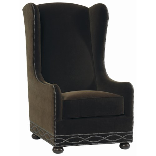 Bernhardt Upholstered Accents Blaine Wing Chair with High Back and Bun Feet