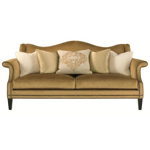 Bernhardt Upholstered Accents Fitzgerald Sofa with Camel Back and Nail Heads