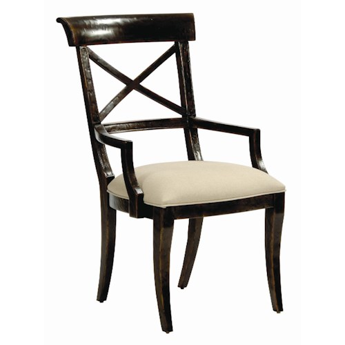 Bernhardt Villa Rica Dining Room Arm Chair with Upholstered Seat