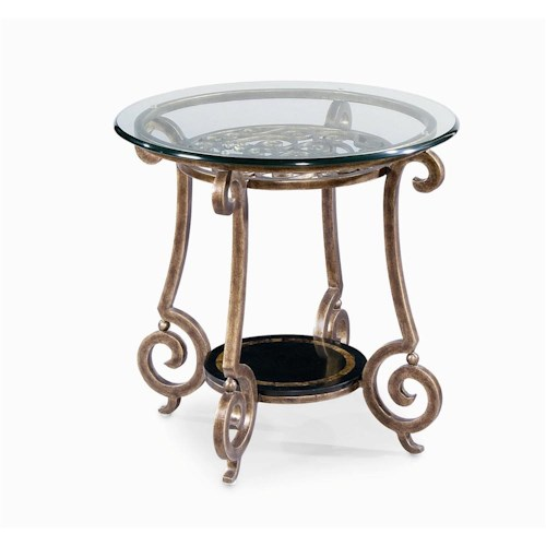Bernhardt Zambrano Round End Table Base & Glass Top