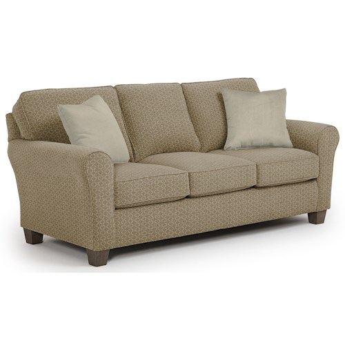 Morris Home Furnishings Annabel  <b>Customizable</b> Transitional Sofa with Rolled arms and Tapered Block Legs