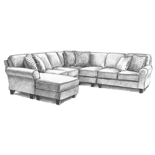 Best Home Furnishings Annabel  Five Piece Customizable Sectional Sofa with Sock Rolled Arms and Wood Feet