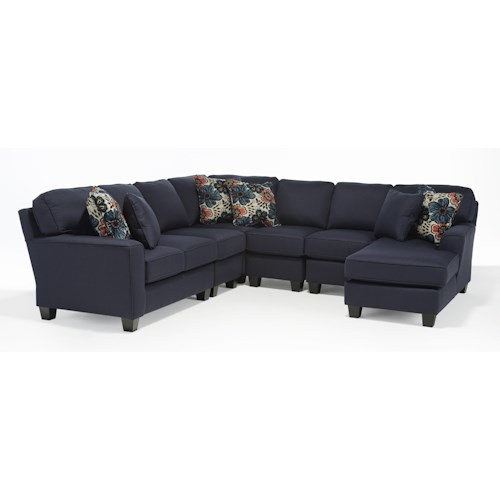 Morris Home Furnishings Annabel  Five Piece Customizable Sectional Sofa with Beveled Arms and Wood Feet