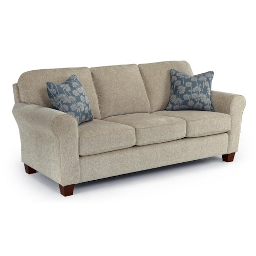 Vendor 411 Annabel  <b>Customizable</b> Transitional Sofa with Rolled arms and Tapered Block Legs