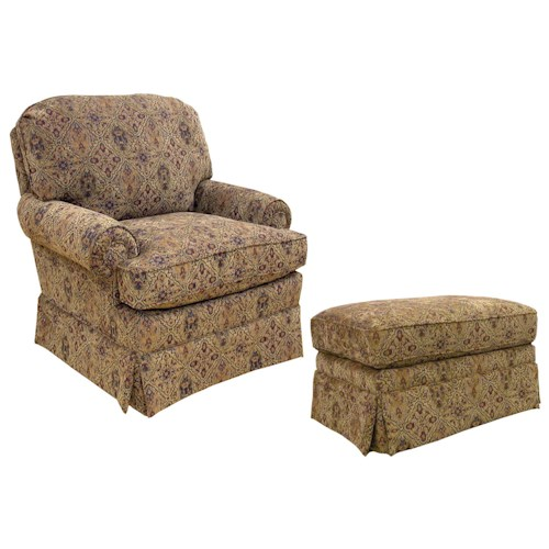 Best Home Furnishings Chairs - Accent Upholstered Arm Chair with Ottoman