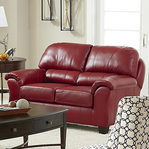 Morris Home Furnishings Birkett Casual Loveseat with Pillow Arms and Block Feet
