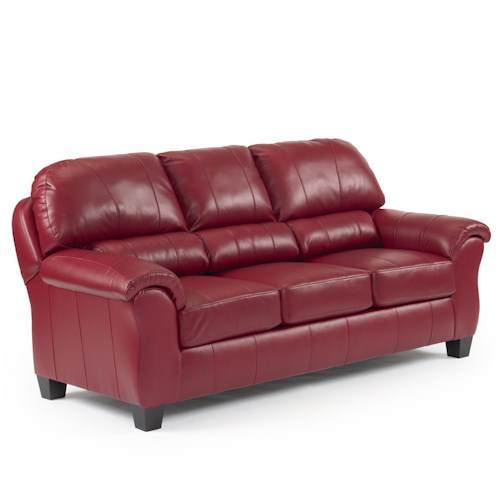 Vendor 411 Birkett Casual Sofa with Pillow Arms and Block Feet