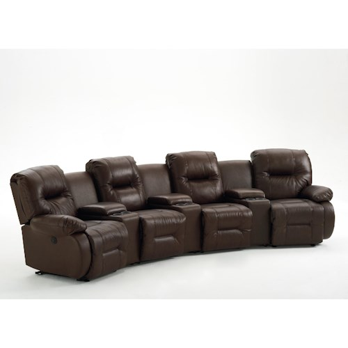 Best Home Furnishings Brinley 2 Seven Piece Reclining Home Theater Group with Three Drink Holder and Storage Consoles