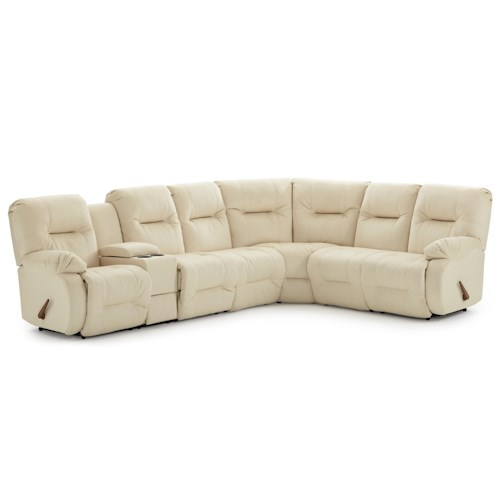 Morris Home Furnishings Brinley 2 Casual Reclining Sectional Sofa with Storage Console and Cupholders