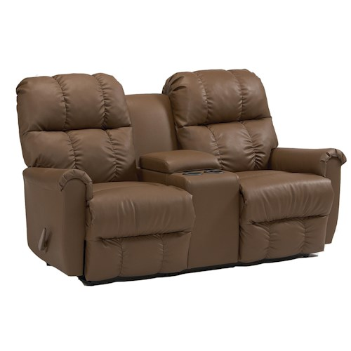 Best Home Furnishings Camryn BHF Casual Power Rocking Reclining Loveseat with Storage Console