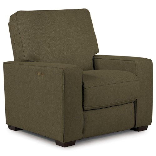 Best Home Furnishings Celena Contemporary Power Space Saver Recliner with Exposed Wood Legs