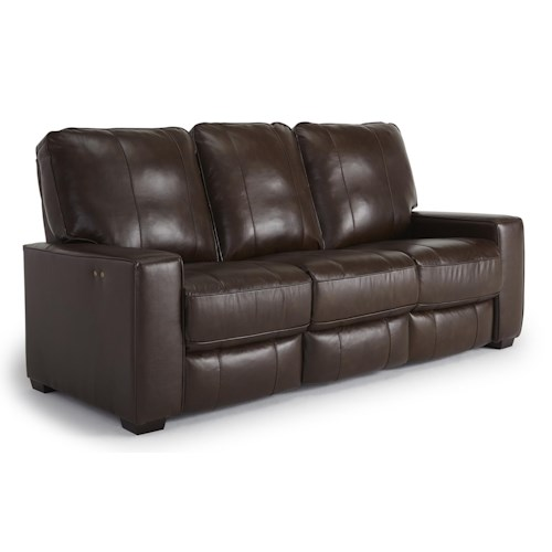 Morris Home Furnishings Celena Contemporary Power Reclining Sofa with Exposed Wood Legs