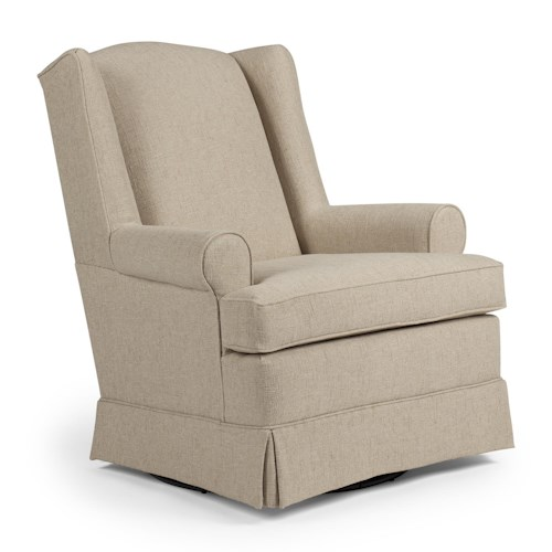 Morris Home Furnishings Chairs - Swivel Glide Roni Skirted Swivel Glider Chair