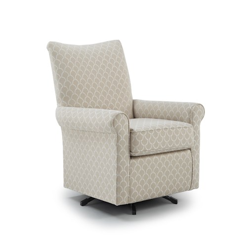 Morris Home Furnishings Chairs - Club Traditional Swivel Chair with Wood Block Feet