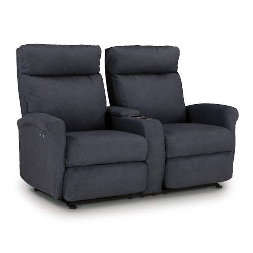 Best Home Furnishings Codie Space Saver Reclining Loveseat with Storage Console and Cupholders