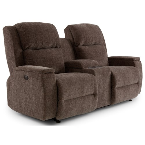 Morris Home Furnishings Colton Power Space Saver Reclining Console Loveseat with Power Tilt Headrest