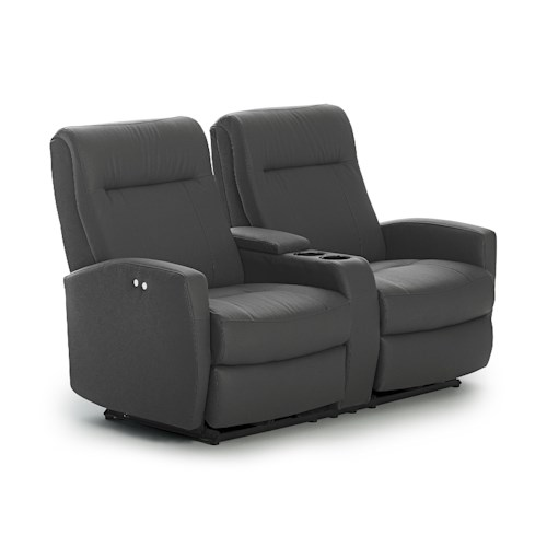 Morris Home Furnishings Costilla Contemporary Space Saver Reclining Loveseat with Drink Console and Charging Port