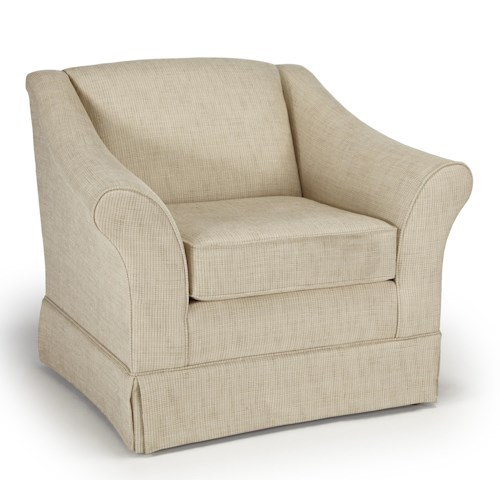 Morris Home Furnishings Emeline <b>Customizable</b> Chair with Flared Arms and Skirted Base