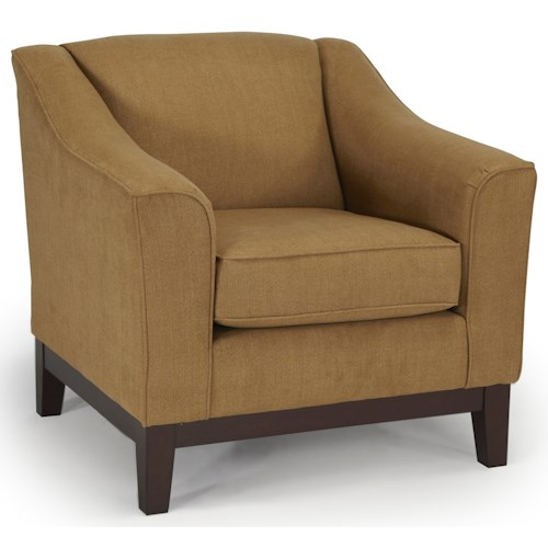 Best Home Furnishings Emeline <b>Customizable</b> Chair with Beveled Arms and Wood Legs