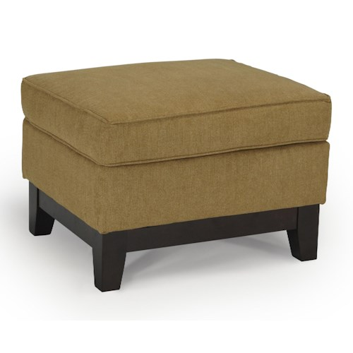 Morris Home Furnishings Emeline <b>Customizable</b> Ottoman with Wood Legs
