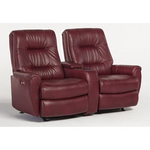 Best Home Furnishings Felicia  Small-Scale Power Rocking Reclining Loveseat with Drink and Storage Console