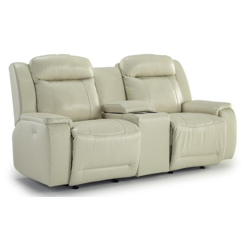 Morris Home Furnishings Hardisty Rocking Reclining Loveseat with Cupholder and Storage Console