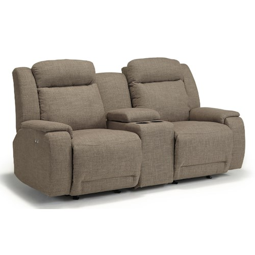 Morris Home Furnishings Hardisty Space Saver Reclining Loveseat with Cupholder and Storage Console