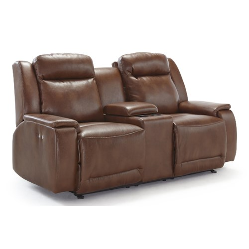 Morris Home Furnishings Hardisty Power Rocking Reclining Loveseat with Cupholder and Storage Console