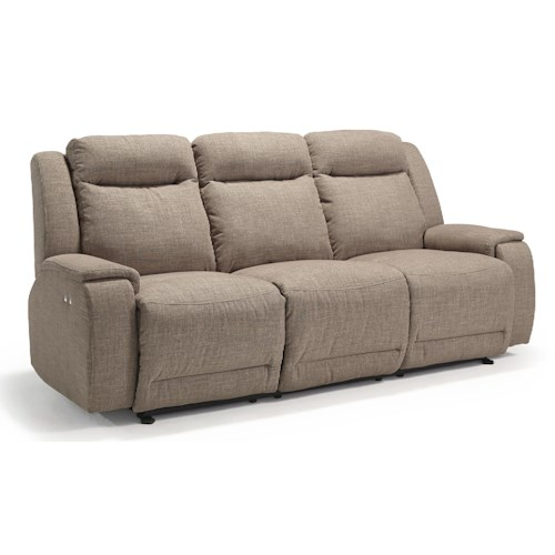 Morris Home Furnishings Hardisty Casual Power Reclining Sofa with Memory Foam Cushions