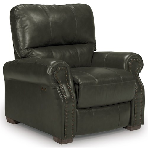 Best Home Furnishings Lander Transitional Power High Leg Recliner with Nailhead Trim