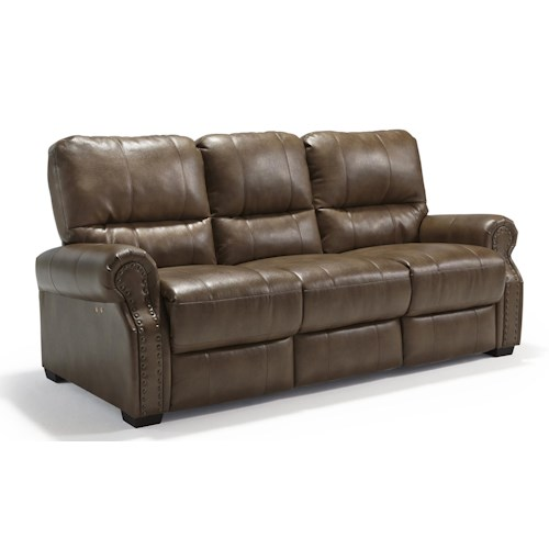Morris Home Furnishings Lander Transitional Power Reclining Sofa with Rolled Arms and Nailhead Studs