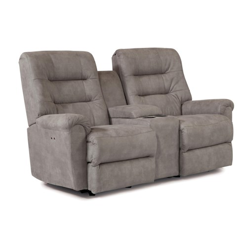 Morris Home Furnishings Langston Casual Space Saver Reclining Loveseat with Cupholder and Storage Console