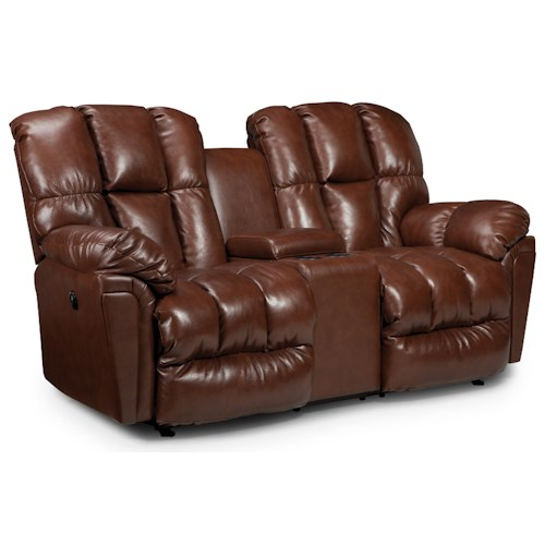Morris Home Furnishings Lucas Casual Plush Rocking Reclining Loveseat with Drink Console