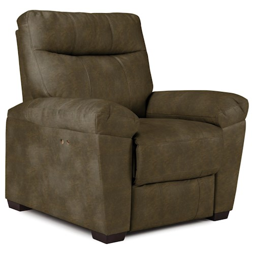 Best Home Furnishings Makena Casual Power Wall Saver Recliner with Stationary Arms and Wood Legs