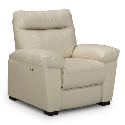 Morris Home Furnishings Makena Casual Power Wall Saver Recliner with Stationary Arms and Wood Legs