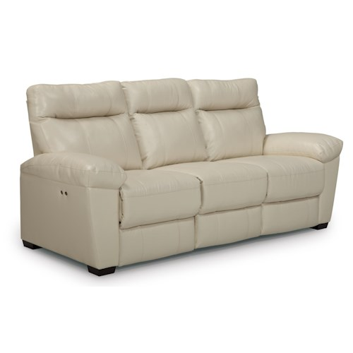 Morris Home Furnishings Makena Casual Power Reclining Sofa with Stationary Arms and Wood Legs