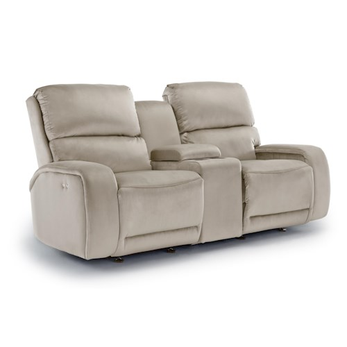 Morris Home Furnishings Matthew Power Space Saver Reclining Loveseat with Cupholder Console