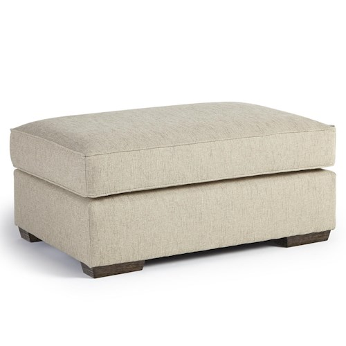 Morris Home Furnishings Millport Ottoman with Welt Cords and Exposed Wood Block Feet